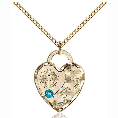 Gold Filled 3/4in Footprints Heart Pendant Zircon Bead & 18in Chain