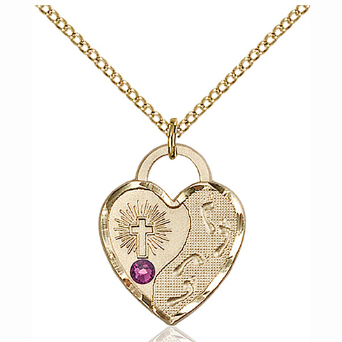Gold Filled 3/4in Footprints Heart Pendant with 3mm Amethyst Bead & 18in Chain