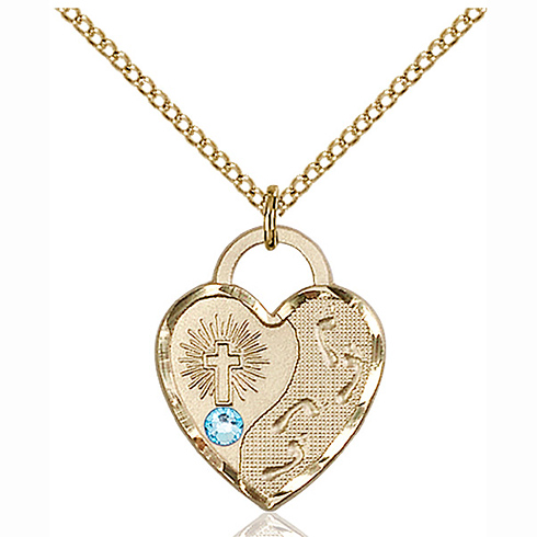 Gold Filled 3/4in Footprints Heart Pendant with 3mm Aqua Bead & 18in Chain