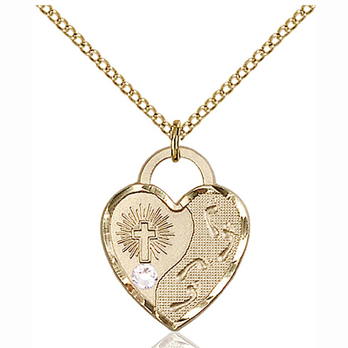 Gold Filled 3/4in Footprints Heart Pendant Crystal Bead & 18in Chain
