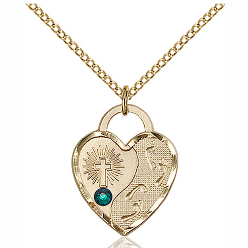 Gold Filled 3/4in Footprints Heart Pendant with 3mm Emerald Bead & 18in Chain