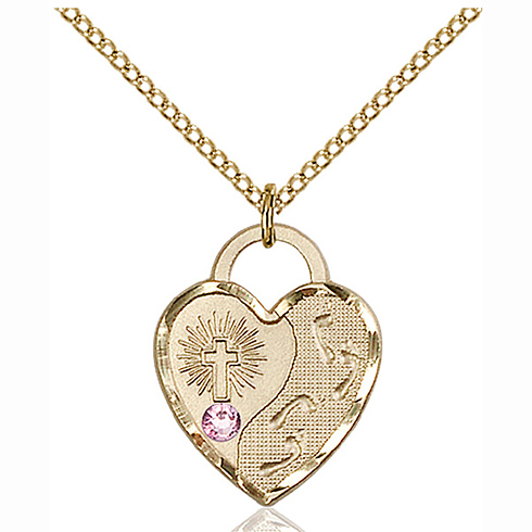 Gold Filled 3/4in Footprints Heart Pendant with 3mm Light Amethyst Bead & 18in Chain