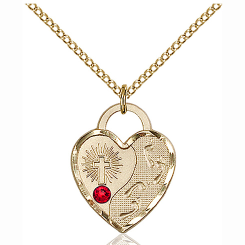 Gold Filled 3/4in Footprints Heart Pendant with 3mm Ruby Bead & 18in Chain