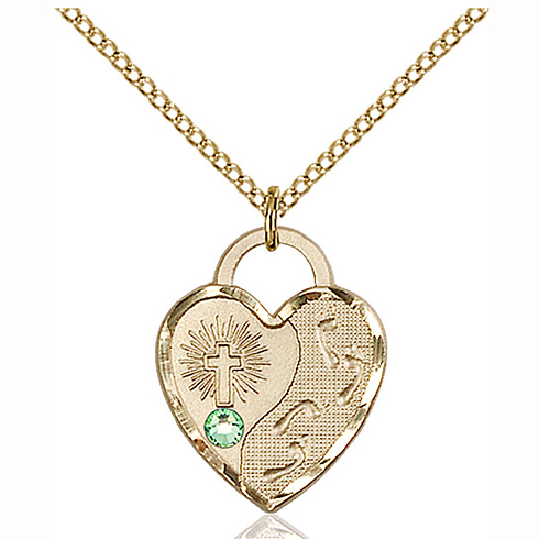 Gold Filled 3/4in Footprints Heart Pendant with 3mm Peridot Bead & 18in Chain