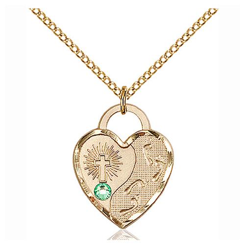 Gold Filled 3/4in Footprints Heart Pendant Peridot Bead & 18in Chain