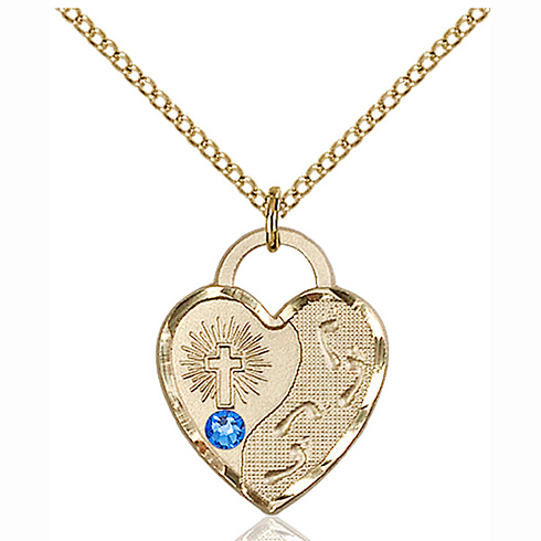 Gold Filled 3/4in Footprints Heart Pendant Sapphire Bead & 18in Chain