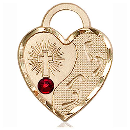 14kt Yellow Gold 3/4in Footprints Heart Pendant with 3mm Garnet Bead