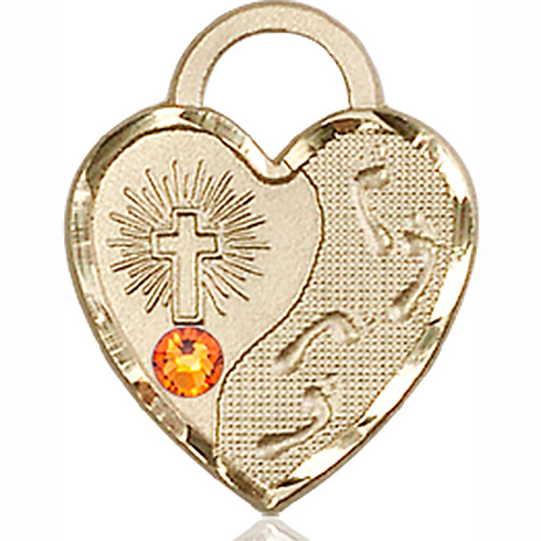14kt Yellow Gold 3/4in Footprints Heart Pendant with 3mm Topaz Bead