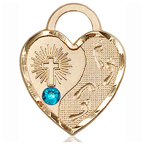 14kt Yellow Gold 3/4in Footprints Heart Pendant with 3mm Zircon Bead