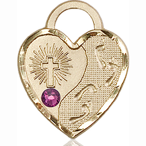 14kt Yellow Gold 3/4in Footprints Heart Pendant with 3mm Amethyst Bead
