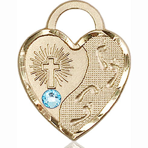 14kt Yellow Gold 3/4in Footprints Heart Pendant with 3mm Aqua Bead