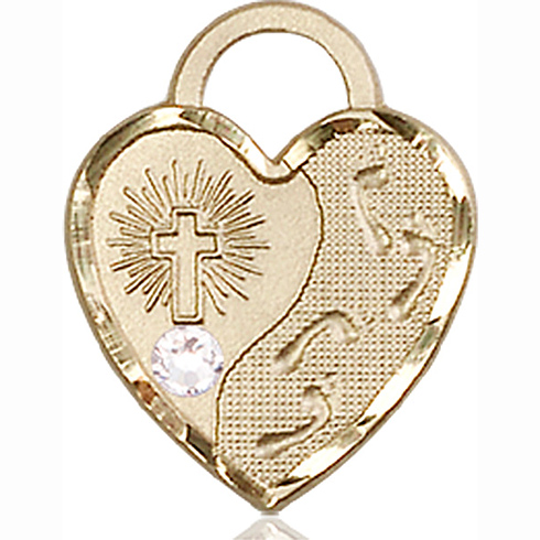 14kt Yellow Gold 3/4in Footprints Heart Pendant with 3mm Crystal Bead