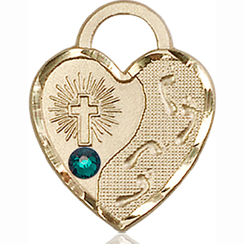 14kt Yellow Gold 3/4in Footprints Heart Pendant with 3mm Emerald Bead