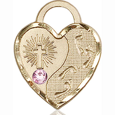 14kt Yellow Gold 3/4in Footprints Heart Pendant with 3mm Light Amethyst Bead