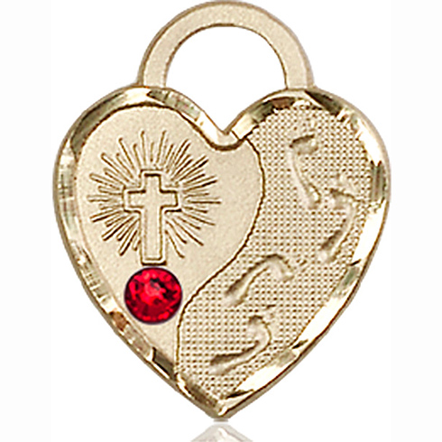 14kt Yellow Gold 3/4in Footprints Heart Pendant with 3mm Ruby Bead