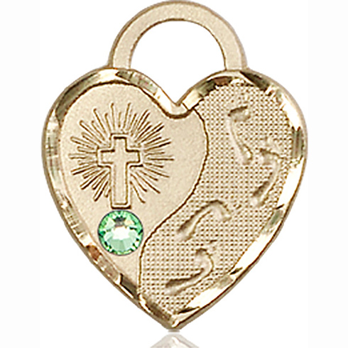 14kt Yellow Gold 3/4in Footprints Heart Pendant with 3mm Peridot Bead