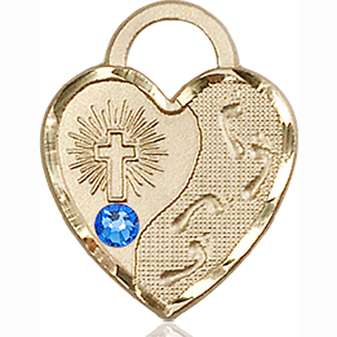 14kt Yellow Gold 3/4in Footprints Heart Pendant with 3mm Sapphire Bead