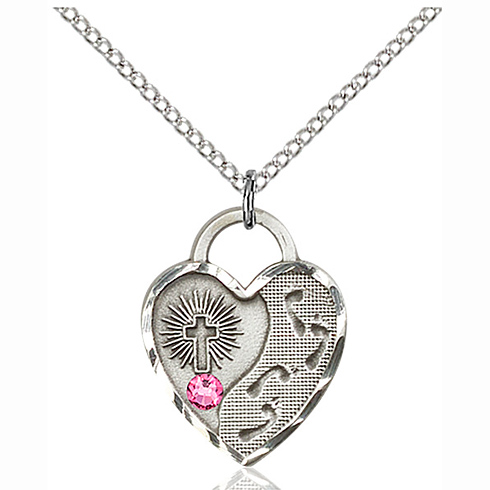 Sterling Silver 3/4in Footprints Heart Pendant with 3mm Rose Bead & 18in Chain