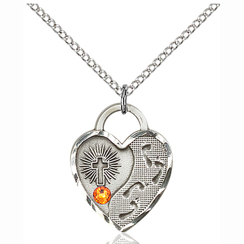 Sterling Silver 3/4in Footprints Heart Pendant with 3mm Topaz Bead & 18in Chain