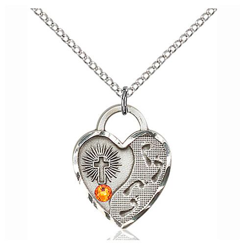 Sterling Silver 3/4in Footprints Heart Pendant Topaz Bead & 18in Chain