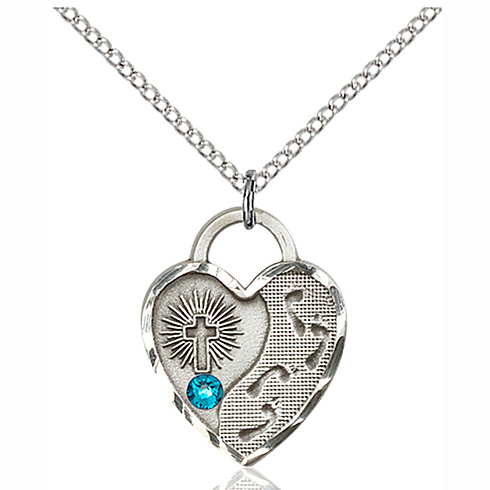 Sterling Silver 3/4in Footprints Heart Pendant with 3mm Zircon Bead & 18in Chain