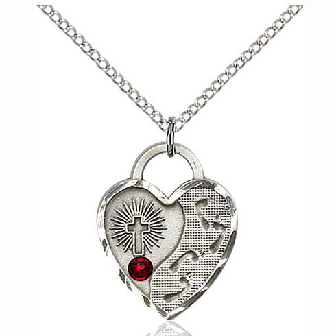 Sterling Silver 3/4in Footprints Heart Pendant with 3mm Garnet Bead & 18in Chain