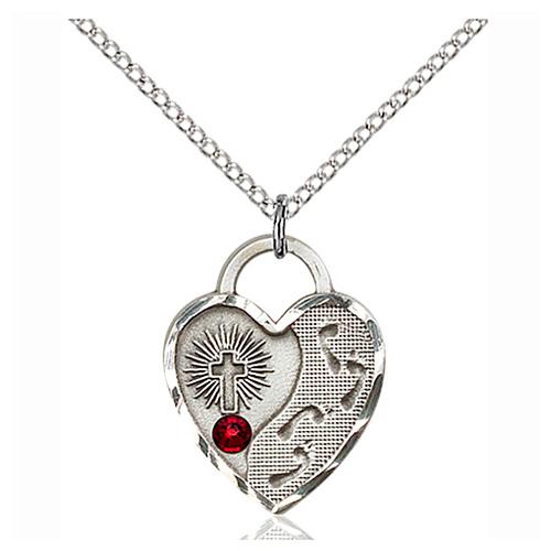 Sterling Silver 3/4in Footprints Heart Pendant Garnet Bead 18in Chain