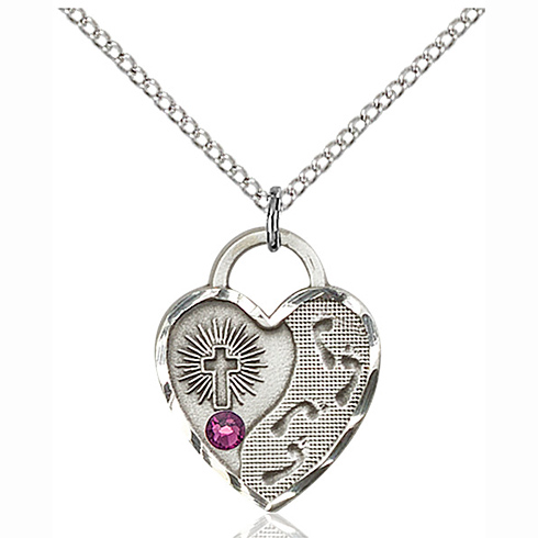 Sterling Silver 3/4in Footprints Heart Pendant with 3mm Amethyst Bead & 18in Chain