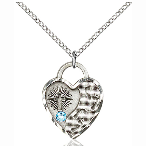 Sterling Silver 3/4in Footprints Heart Pendant with 3mm Aqua Bead & 18in Chain