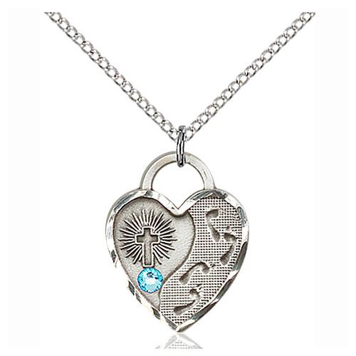 Sterling Silver 3/4in Footprints Heart Pendant Aqua Bead & 18in Chain