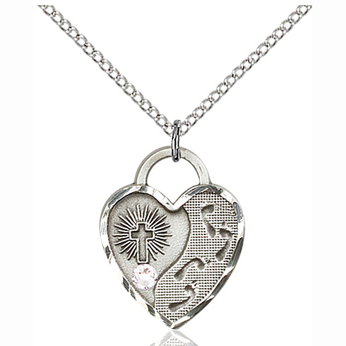 Sterling Silver 3/4in Footprints Heart Pendant with 3mm Crystal Bead & 18in Chain
