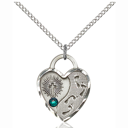 Sterling Silver 3/4in Footprints Heart Pendant with 3mm Emerald Bead & 18in Chain