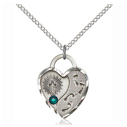 Sterling Silver 3/4in Footprints Heart Pendant Emerald Bead & Chain