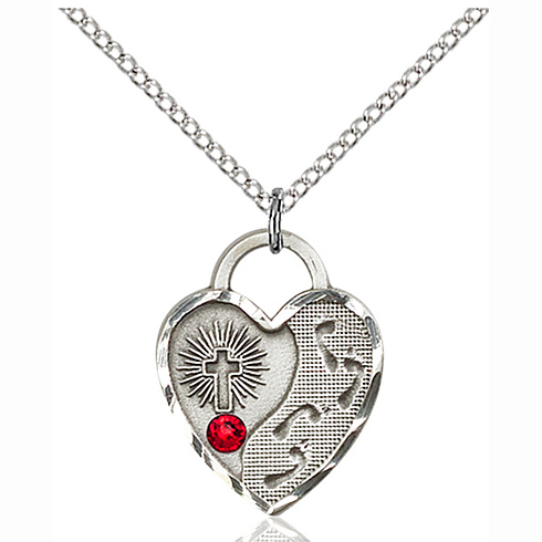 Sterling Silver 3/4in Footprints Heart Pendant Ruby Bead & 18in Chain