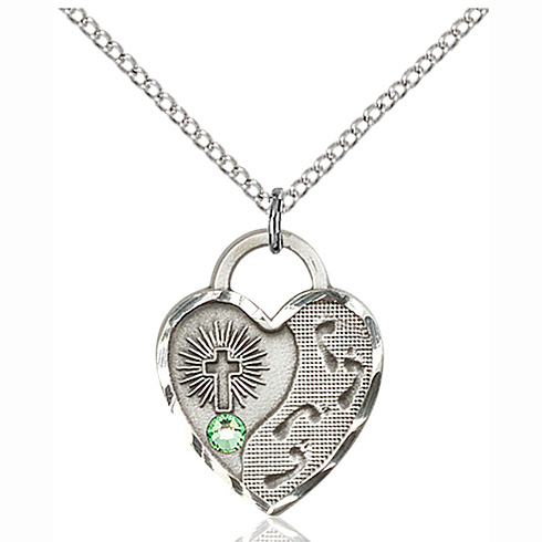 Sterling Silver 3/4in Footprints Heart Pendant with 3mm Peridot Bead & 18in Chain