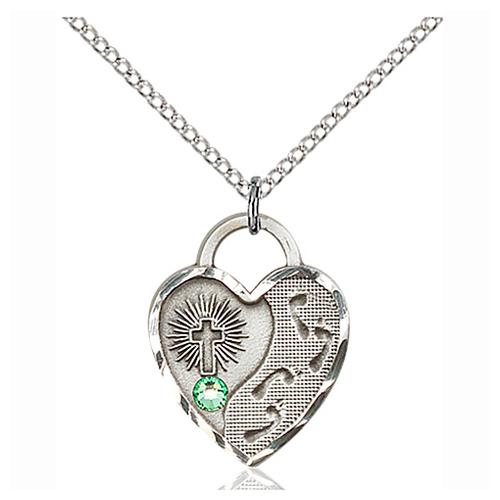 Sterling Silver 3/4in Footprints Heart Pendant Peridot Bead & Chain