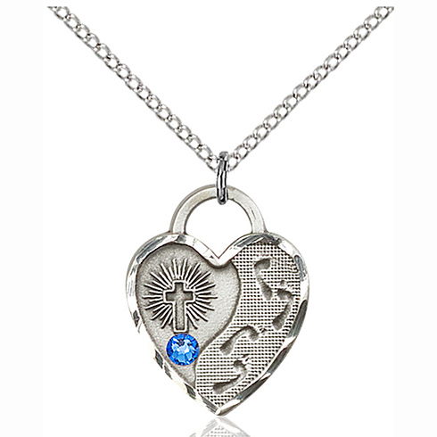 Sterling Silver 3/4in Footprints Heart Pendant with 3mm Sapphire Bead & 18in Chain