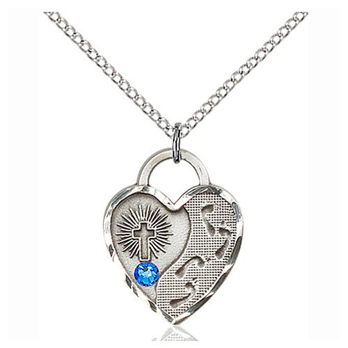 Sterling Silver Footprints Heart Pendant Sapphire Bead & 18in Chain
