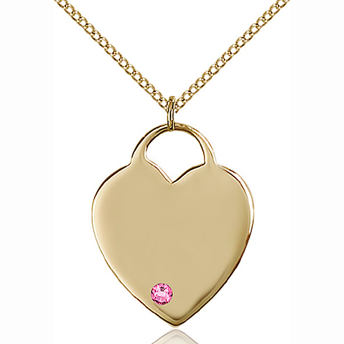 Gold Filled 1in Heart Pendant with 3mm Rose Bead & 18in Chain