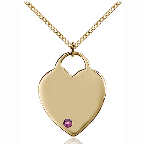 Gold Filled 1in Heart Pendant with 3mm Amethyst Bead & 18in Chain