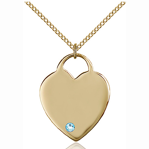 Gold Filled 1in Heart Pendant with 3mm Aqua Bead & 18in Chain