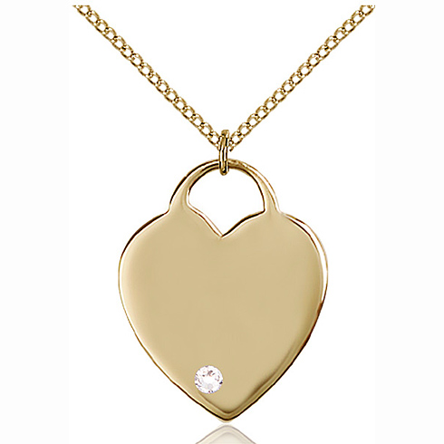 Gold Filled 1in Heart Pendant with 3mm Crystal Bead & 18in Chain