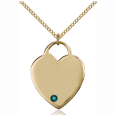 Gold Filled 1in Heart Pendant with 3mm Emerald Bead & 18in Chain
