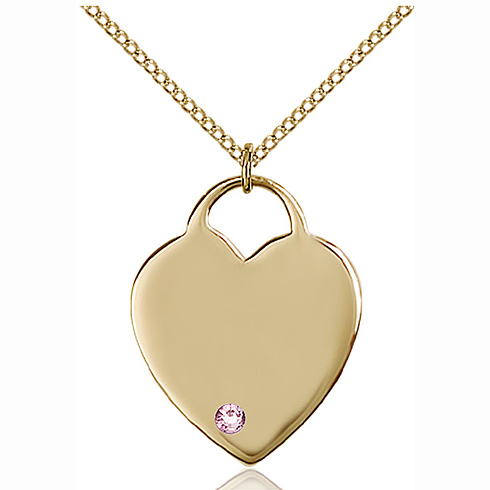 Gold Filled 1in Heart Pendant with Light Amethyst Bead & 18in Chain