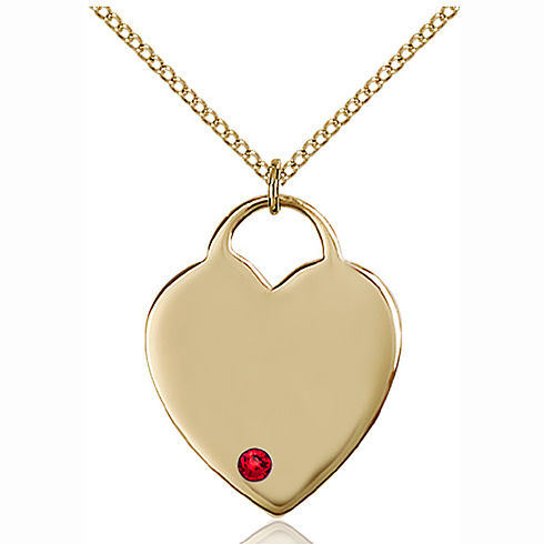 Gold Filled 1in Heart Pendant with 3mm Ruby Bead & 18in Chain