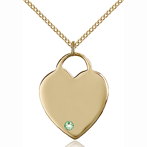 Gold Filled 1in Heart Pendant with 3mm Peridot Bead & 18in Chain