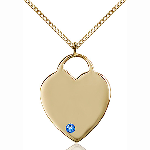 Gold Filled 1in Heart Pendant with 3mm Sapphire Bead & 18in Chain