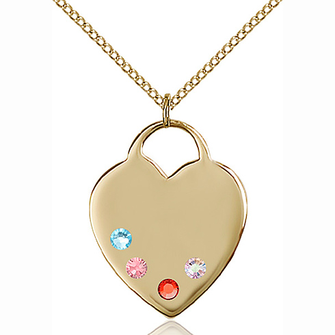 Gold Filled 1in Heart Pendant with 3mm Multi-Color Beads & 18in Chain