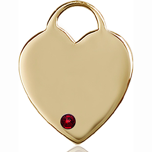 14kt Yellow Gold 1in Heart Pendant with 3mm Garnet Bead