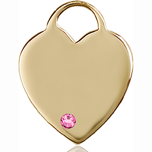 14kt Yellow Gold 1in Heart Pendant with 3mm Rose Bead
